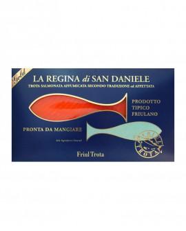 Regina di San Daniele in fette lunghe - 500g fette lunghe - Filetto di Trota Salmonata Affumicata a freddo - Friul Trota