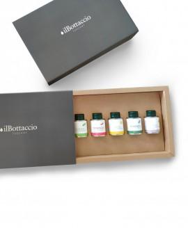 Confezione Regalo Olio Extravergine d'Oliva Italiano INFUSI n.5 PEZZI MIX da 100 ml - Olio il Bottaccio