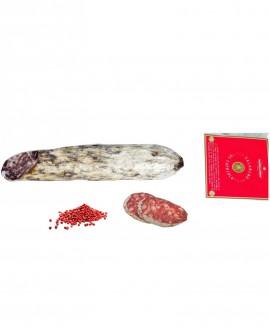 Salame di Capriolo Riserva Roen al pepe rosa - Rehsalami 230g sottovuoto - stagionatura 60 giorni - Fratelli Corra
