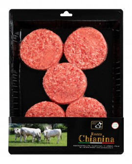 Hamburger di Carne Chianina da 170g - confezione da n.5 pezzi 850g skin - Carne Certificata - Macelleria Co.Pro.Car. San Nicolo
