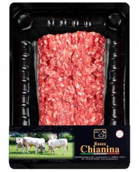 Macinato di Carne Chianina - n.1 pezzo 400g skin - Carne Certificata - Macelleria Co.Pro.Car. San Nicolo