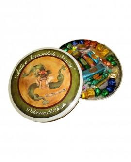 Latta circolare torrone misto gr 600 - Antico Torronificio Nisseno
