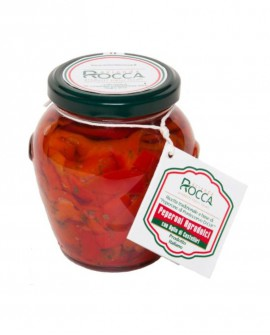 Peperoni Agrodolce di Pontecorvo DOP, con aglio rosso di Castelliri - Vaso Orcio 296 g - Azienda Rocca