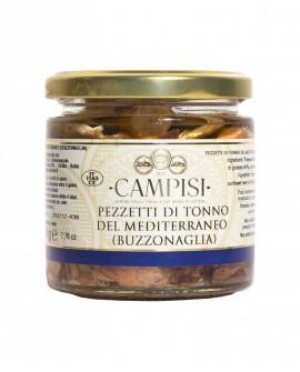 Buzzonaglia Pezzetti di Tonno del Mediterraneo in Olio di Oliva - vaso vetro 220 g - Campisi