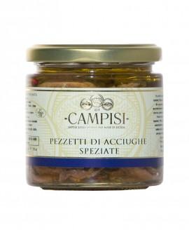 Pezzetti di Acciughe Speziate in Olio di Oliva - vaso vetro 220 g - Campisi