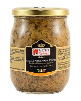 Crema e pezzettoni di porcini 500 g, in vasetto di vetro - Tartufi Alfonso Fortunati