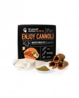 Enjoy Cannoli Siciliani con ricotta di bufala fresca - n.50 GRANDI - kit fai-da-te - 4,75 kg - Terra Siciliae