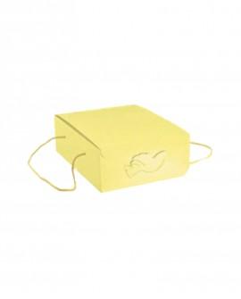 Segreto con cordini giallo stampa colomba 21x27x12 - n. 20 pezzi - Cesteria M.B. Service