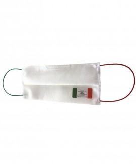Mascherina bianca con elastici ITALIA in tessuto TNT doppio strato da 70gr cadauno - 100% Poliprop. idrorepellente e traspirante