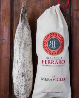 Bresaola della Valchiavenna artigianale, Sottofesa affumicata Meraviglia - 3,1 kg circa - Stagionatura 45gg - Bresaola Ferraro