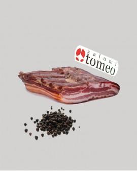 Pancetta tesa al pepe nero - metà 3,2Kg sottovuoto - stagionatura 150 giorni- Salumi Tomeo