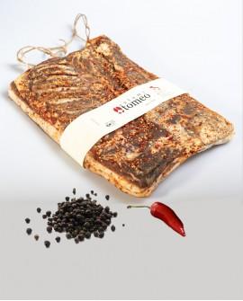 Pancetta tesa piccante al peperoncino e pepe nero - metà 3,2Kg sottovuoto - stagionatura 150 giorni - Salumi Tomeo