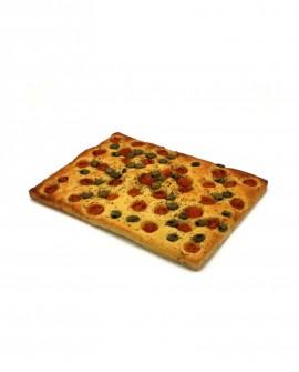 Focaccia Mediterranea pomodorini, olive surgelata di semola di grano duro- 30x40cm 850g- cartone sfuso n.12 pezzi Mininni Buene