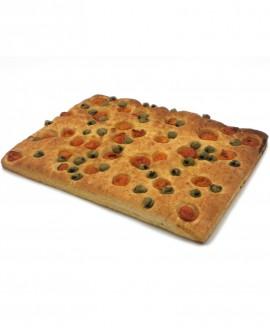 Focaccia Mediterranea pomodorini, olive surgelata multicereali - 40x60cm 1700g - cartone sfuso n.6 pezzi - Mininni Buene