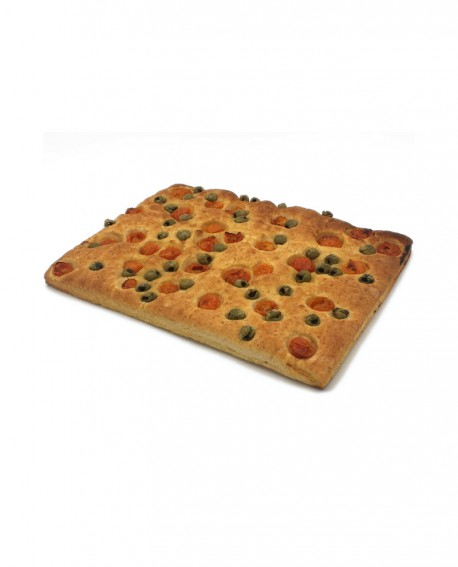Focaccia Mediterranea pomodorini, olive surgelata multicereali - 30x40cm 750 - cartone sfuso n.12 pezzi - Mininni Buene Altamura