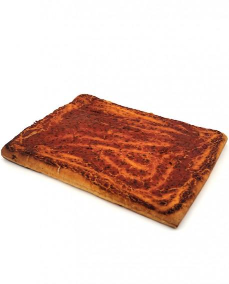 Focaccia Rossa surgelata di semola rimacinata di grano duro - 40x60cm 1400g - cartone sfuso n.5 pezzi - Mininni Buene