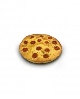 Focaccia ai Pomodorini surgelata di semola rimacinata di grano duro - 25cm tonda 400g - cartone sfuso n.8 pezzi - Mininni Buene