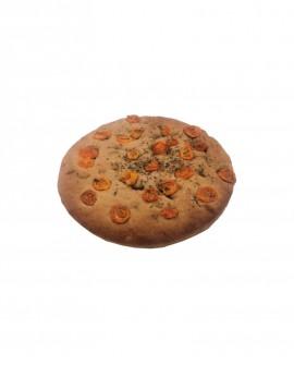 Focaccia ai Pomodorini surgelata integrale di grano duro - 25cm tonda 400g - cartone sfuso n.8 pezzi - Mininni Buene Altamura