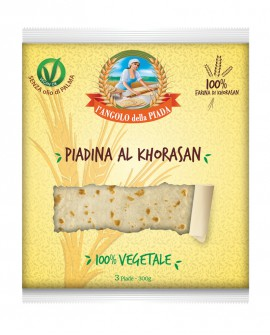 Piadina al grano Khorasan fresca in ATM 50gg - 24cm tonda 100g - confezione 3 pezzi - Cartone 45 pezzi - L'Angolo della Piada