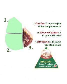 Prosciutto di Bassiano Classico senza osso - trancio RIVOLTINO 2,5 Kg sottovuoto - stagionatura 15 mesi - Reggiani